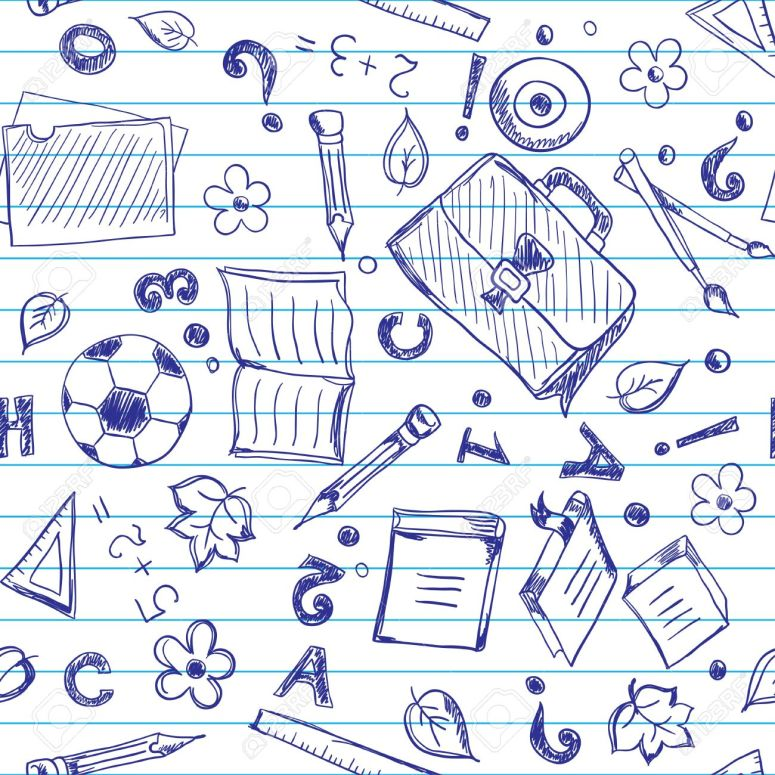 16110332-Seamless-pattern-with-school-objects-stylized-under-drawn-in-a-copybook-Stock-Vector